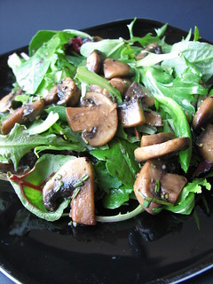 Field Greens with Warm Mushroom Rosemary Dressing | by britton618