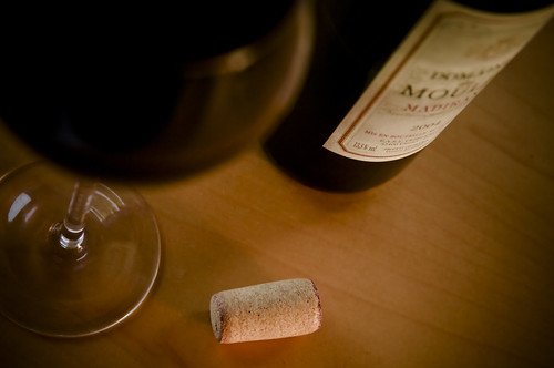 Bottle of Red Wine + Glass + Cork