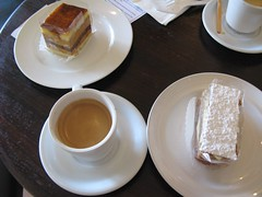 Caramel cake and Napoleon (with espressos) at Sage French Cake | by alice q. foodie