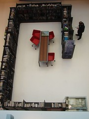 looking down on the new books area from the staff floor | by The Shifted Librarian