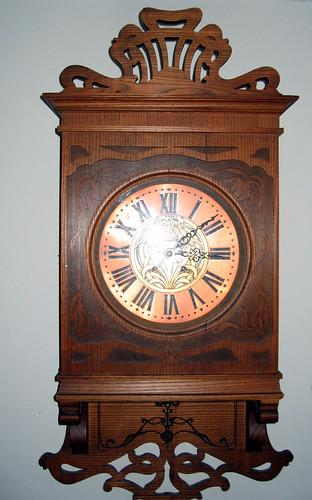 Wall Clock Art Nouveau : Art nouveau oak wall clock copper face jdorazio flickr