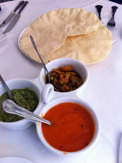 Poppadoms at Mezbaan Indian restaurant, Edinburgh | by www.theedinburghblog.co.uk