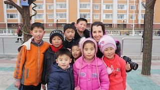 Friendly kids outside of the Scientist Complex in Pyongyang | by uritours
