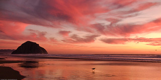 Morro Rock at sunset on Morro Strand State Beach, Morro Bay, CA | by mikebaird