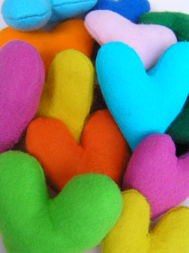 colorful felt hearts | by Flecto