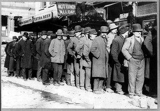 Bowery men waiting for bread in bread line, New York City, Bain Collection (LOC) | by pingnews.com