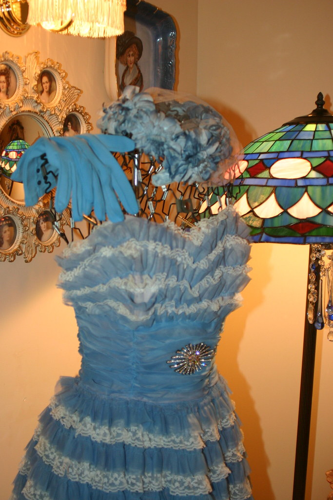 I adore Vintage Things! | Blue vintage prom gown displayed o… | Flickr