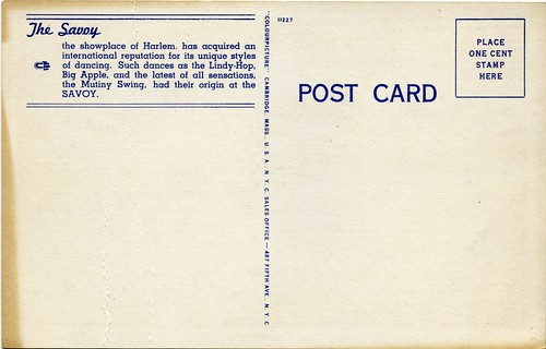 Savoy Ballroom Postcard (Back) | by Mike_Thibault