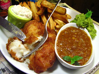 Fish and Chips with Homemade Tartar and Curry Dipping Sauce | by SeppySills