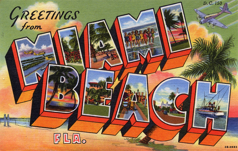 Top Greetings from Miami Beach, Florida - Large Letter Postcar… | Flickr BC46