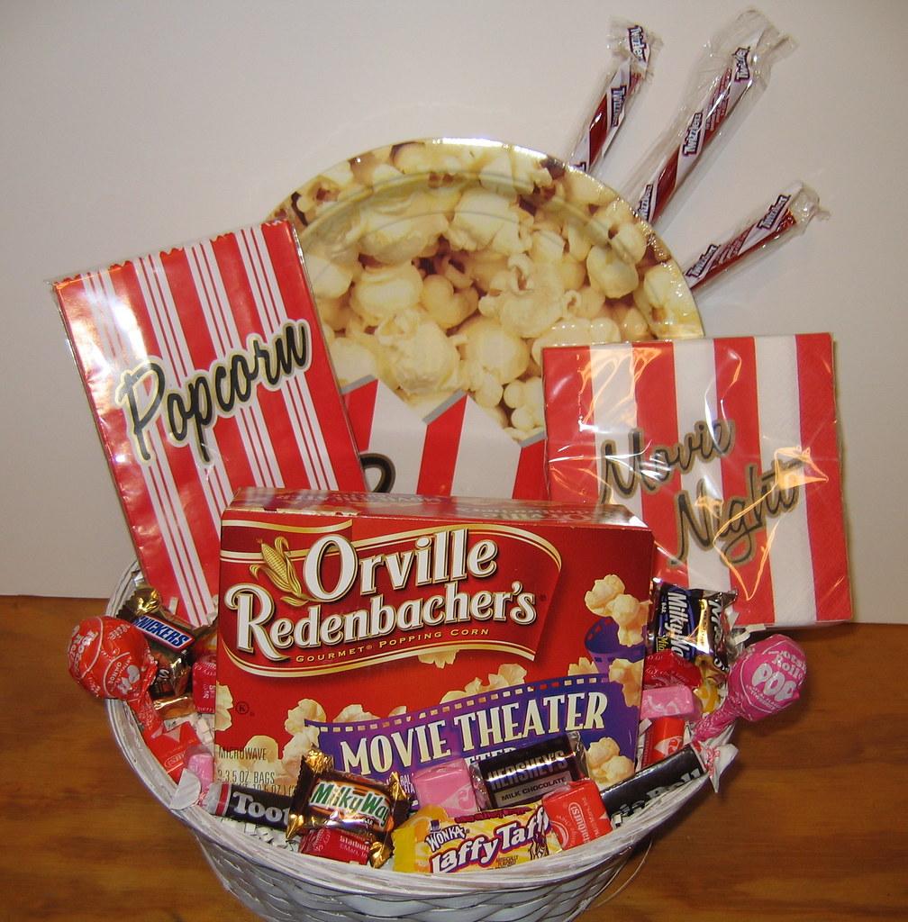 Movie Night Gift Basket Movie Night Basket Has Popcorn Sac Flickr