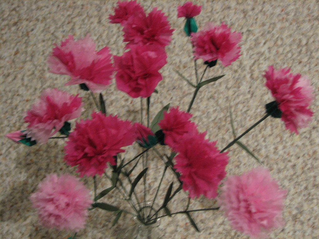 Origami Carnations Origami Flowers Check Out My Profile Flickr