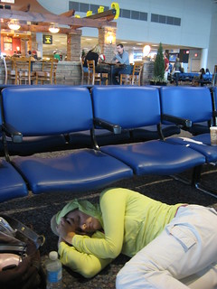 Mel trying to snooze in the Charlotte airport | by thegordons