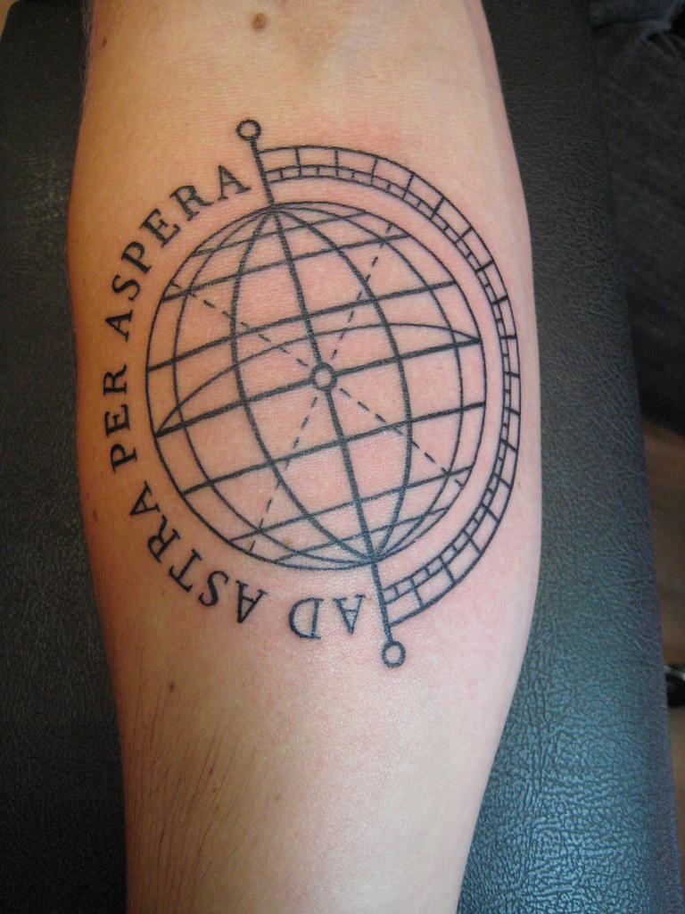 Globe Tattoo | www.shannonarchuleta.com/?utm_source=flickr - Per Aspera Ad Astra Tattoo