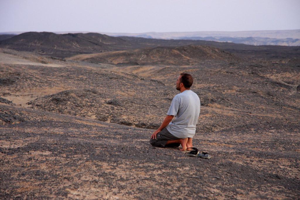 A Muslim Prays In The Sahara Desert