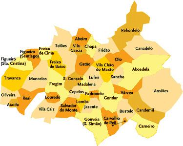 mapa de portugal amarante Concelho de Amarante   Portugal | Mapa das freguesias | Jorge  mapa de portugal amarante