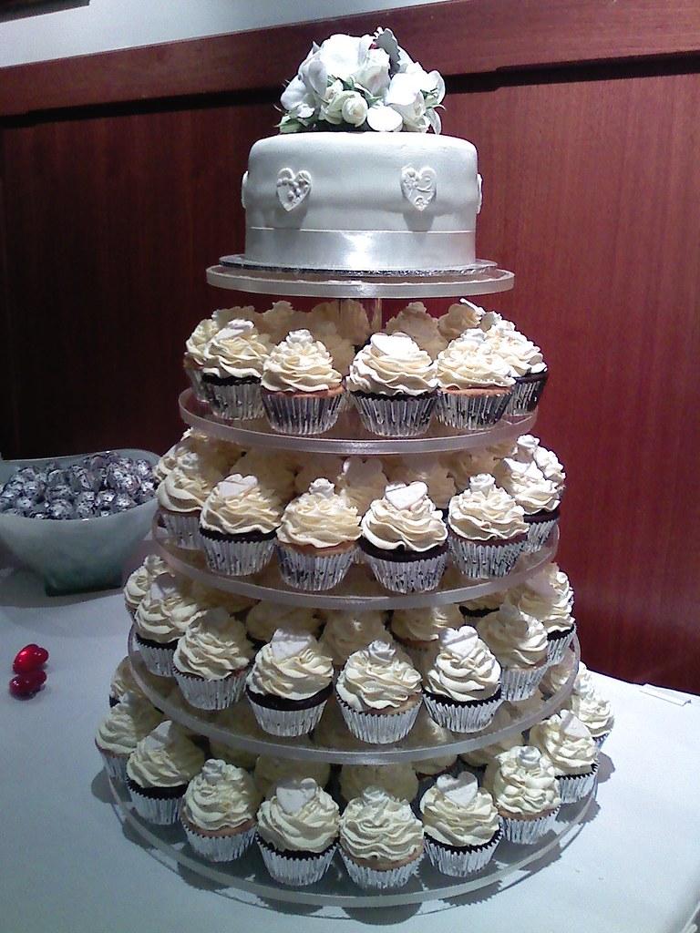 White wedding cupcake tower   Vanilla and raspberry cupcakes…   Flickr