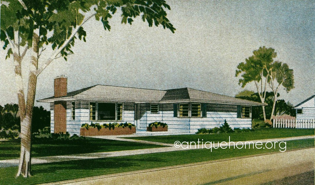 the glendale1950s ranch style homemid century house plans by - 1950 Style Home Plans