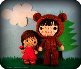 little girl & bigger bear costume girl | by *mia*