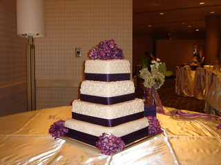 square wedding cake with purple ribbon custom square four tier fondant wedding cake with scroll w 20438