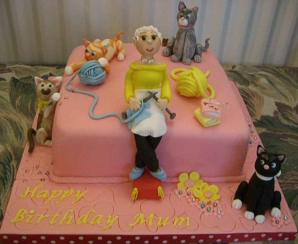 Mums Cats And Knitting Birthday Cake This Is My Lovely Mu Flickr