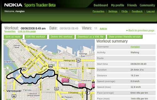 Fearless / Mobile Muse 3 / Car Free Vancouver Dry Run Route courtesy of Nokia Sports Tracker Beta | by roland
