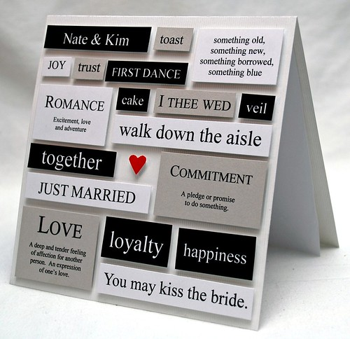 Wedding Words Collage Card In White