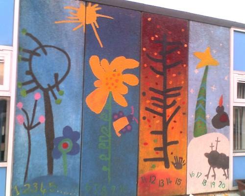 4 seasons mural cwm glas designed by reception children for 4 seasons mural