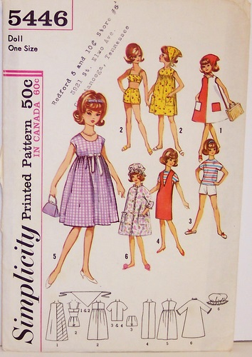 Vintage Simplicity Pattern 5446 for Barbie Tammy Jan Terry 12 Inch Dolls Wardrobe of Bathing Suit coverup Dress Shorts Jumper Robe Cap Scarf 60s | by Sassy By Design