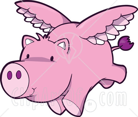 cute pink pig flying clipart graphic illustration royalty flickr