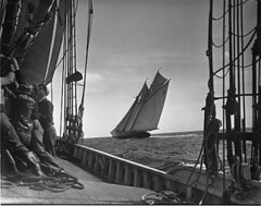 G.L Thebaud at full sail-seen through Elsie's rigging-race off Gloucester | by New Bedford Whaling Museum