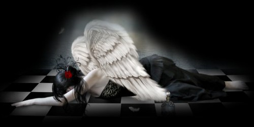 Black n white gothic angel header by thewoomachine