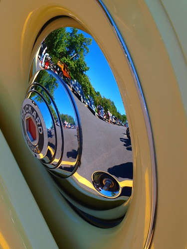 String of Old Cars reflected in Packard Hubcap | by Brooklyn Bridge Baby