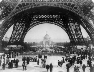 Paris Exposition, view from ground level of the Eiffel tower with Parisians promenading, 1889 | by trialsanderrors