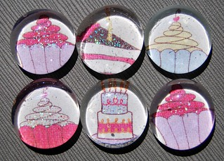 Let Them Eat Cake - Glass Pebble Magnets | by Daisy Mae Designs