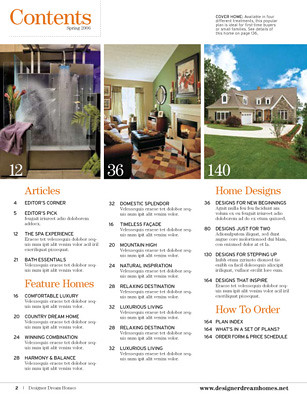 Designer Dream Homes magazine contents | Editorial design fo… | Flickr