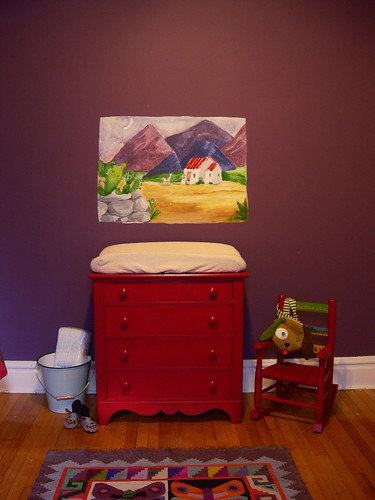 Red Dresser Changing Table I Painted The Mural Taken