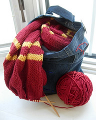 Gryffindor Scarf WIP in S.P.E.W Tote (rec. in HP swap) | by tasket.basket