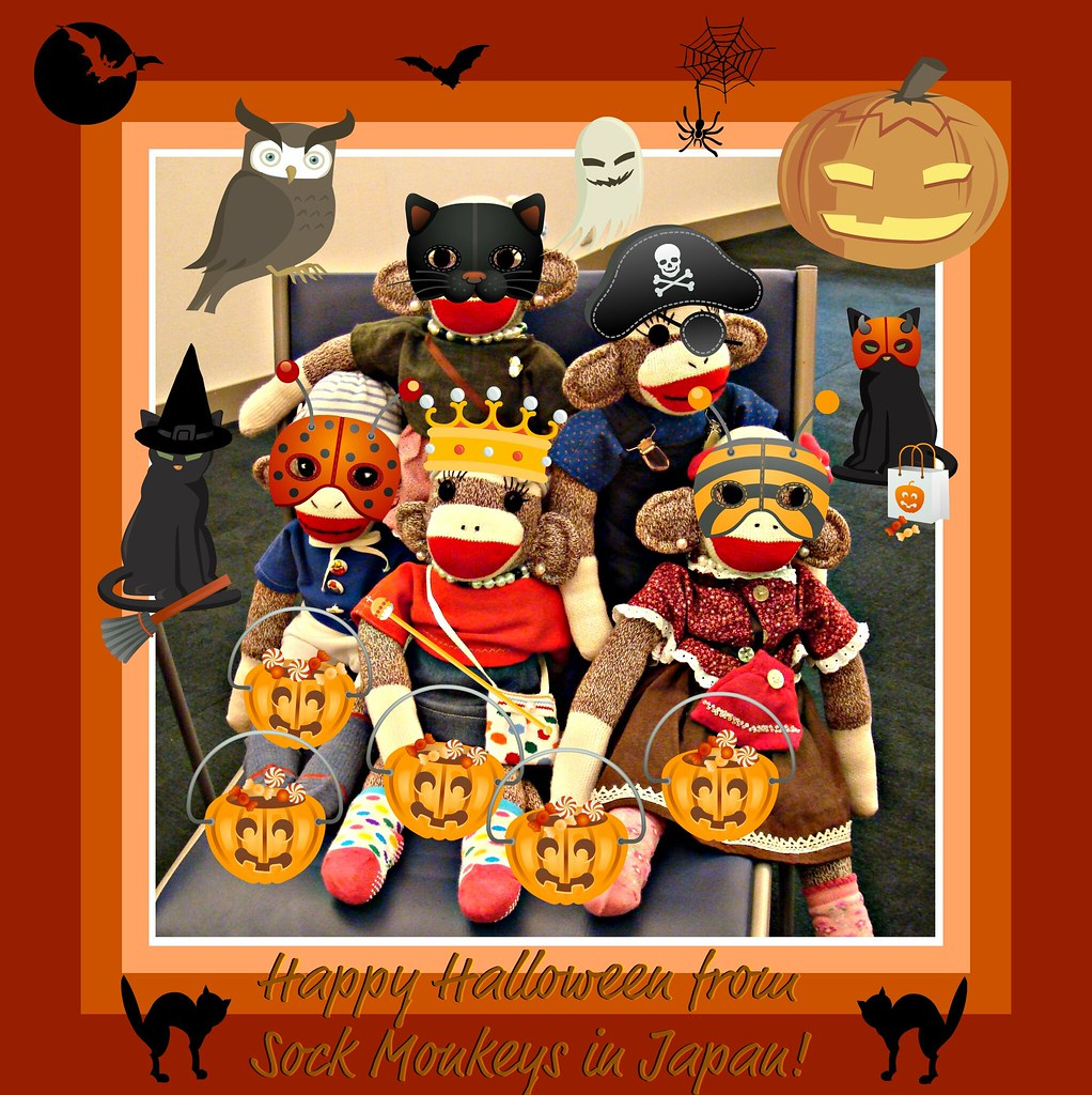 happy halloween from sock monkeys in japan! | at english cla… | flickr