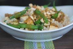string beans and tofu in Thai peanut butter sauce | by Food Blogga