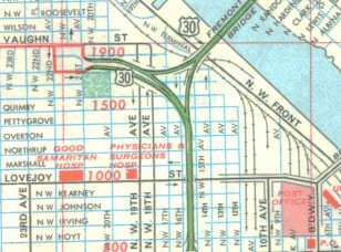 Old NW Portland map | Rand McNally map Former end of US 30 r