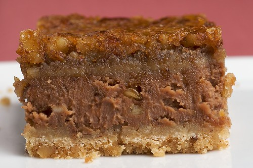 Chocolate Pecan Cheesecake Bars | by bakeorbreak