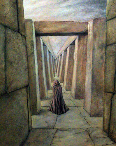 Stone Corridor under Sky (painting) and Corridor (poem) | by faith goble