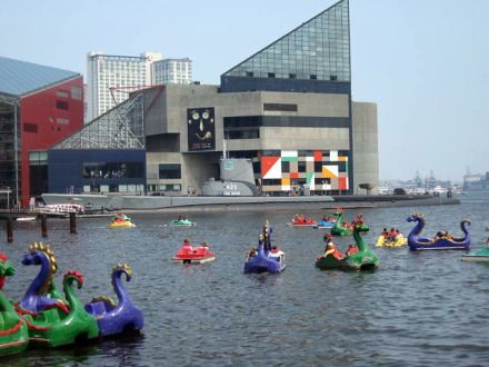 Maryland - Inner Harbor dragon paddle boats and the National Aquarium ...