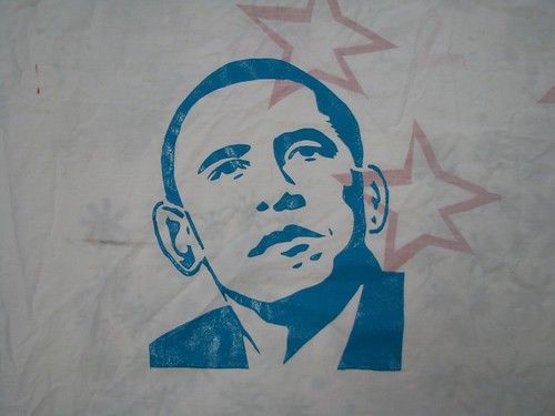 Barack Obama Stencil printed | by average_jane_crafter