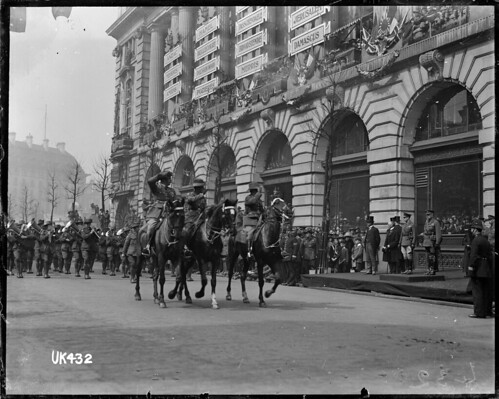 Mounted officers and an Australian military band on parade, London, 1919 | by National Library NZ on The Commons