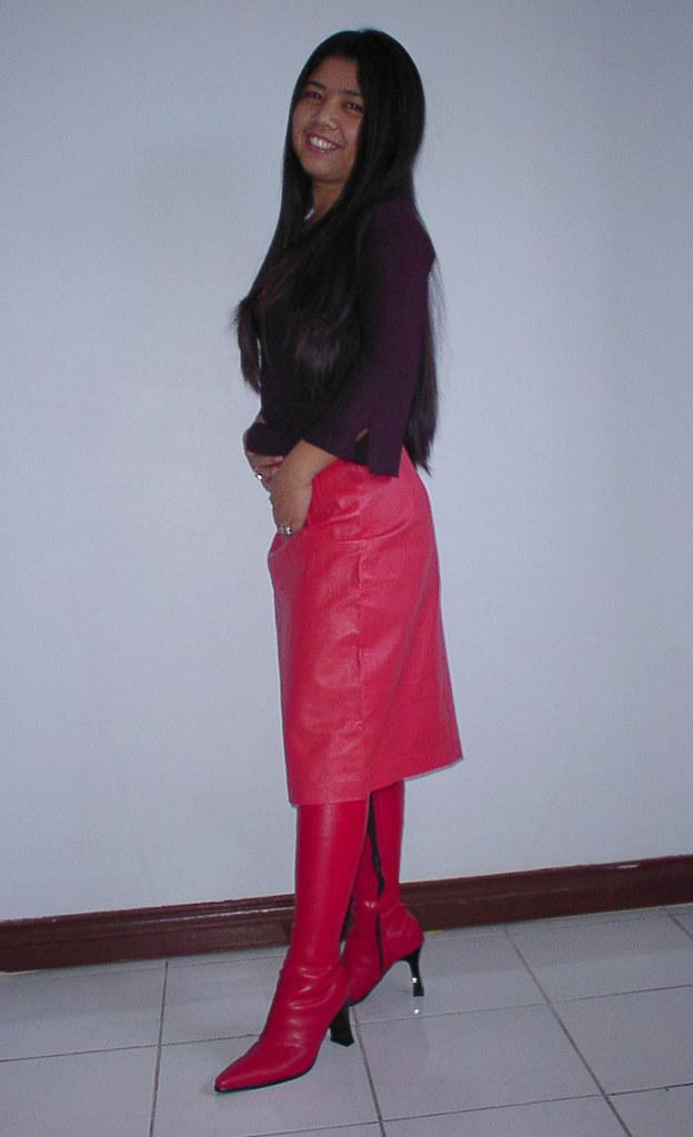 Red leather skirt and red knee boots | johnerly03 | Flickr