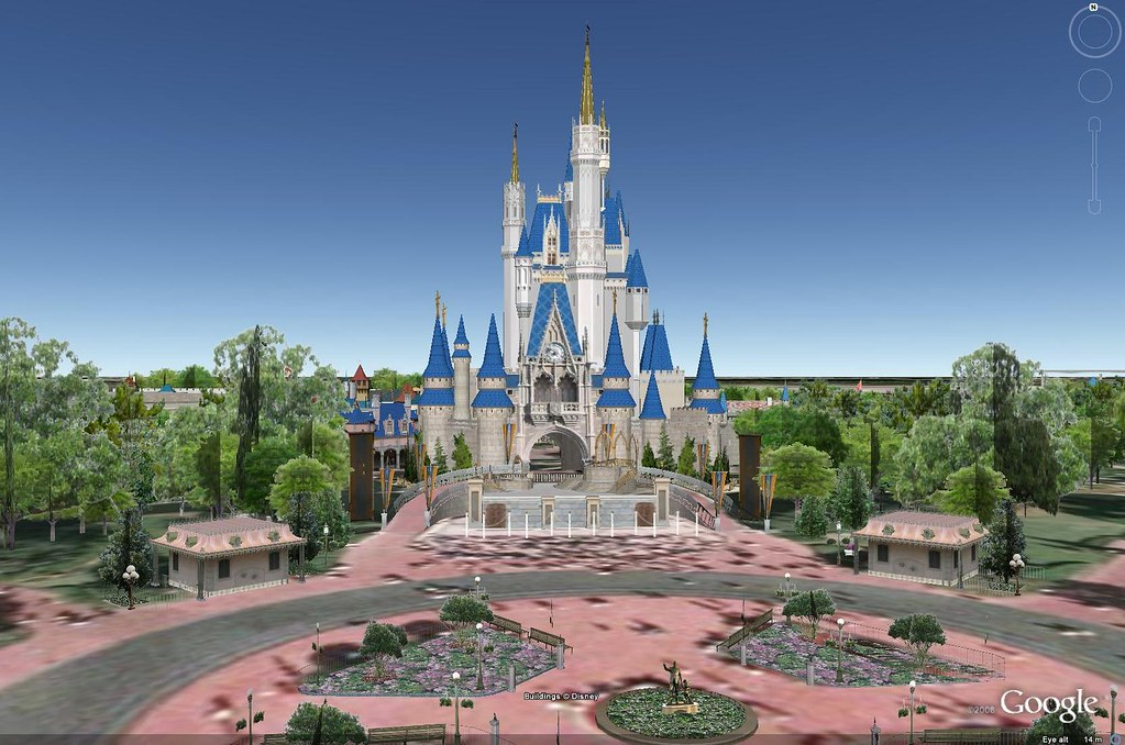 By Jamesandtim Magic Kingdom On Google Earth With 3D Buildings On. | By  Jamesandtim