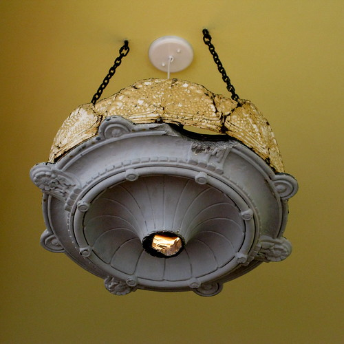 Mission Pie - salvaged ceiling medallion lights | by Married with Dinner