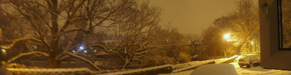 nighttime over Snuff Mill after a heavy snow fall